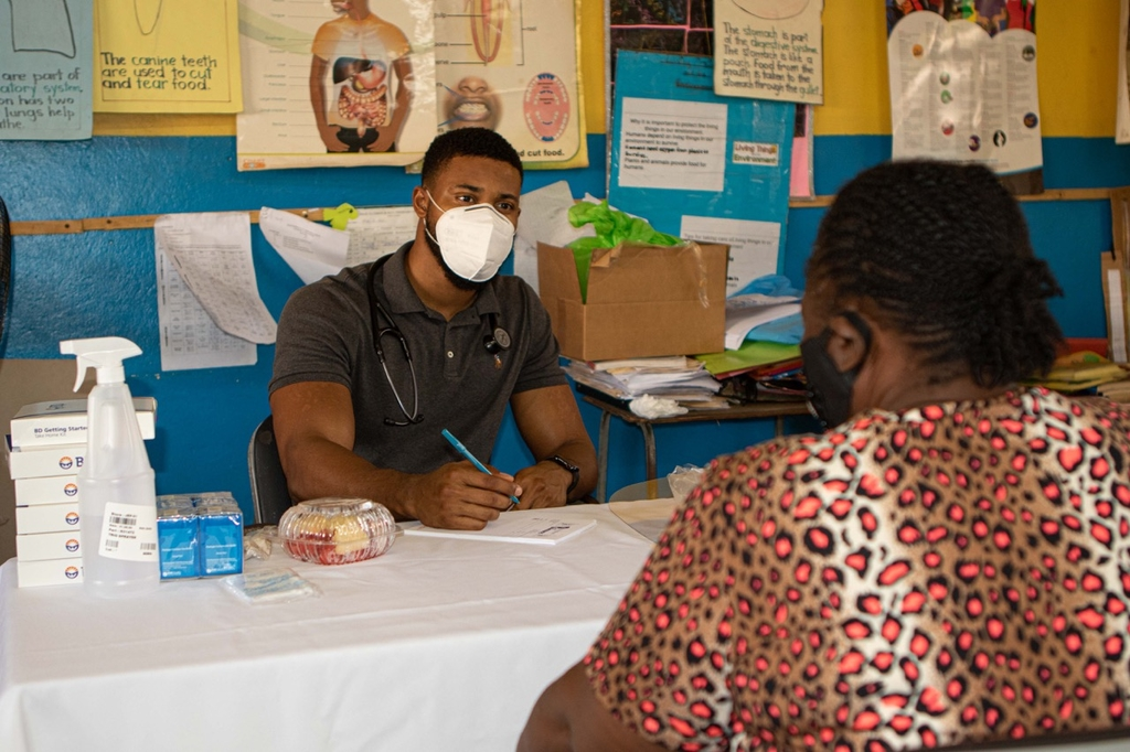 The Old Harbour Bay residents received standard blood pressure/glucose/urine tests, as well as their height and weight before sitting with the doctor.