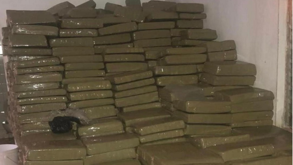 Some of the huge stockpile of ganja that was seized by the police in Spur Tree, Manchester on Monday.