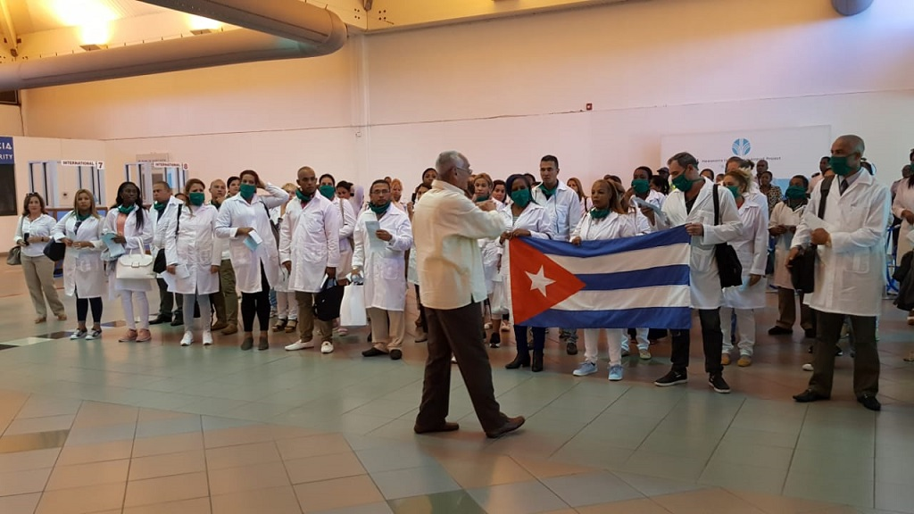 Cuban doctors upon arriving in St Lucia to assist with the COVID-19 pandemic