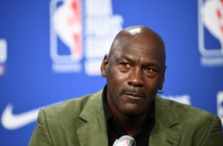 La légende du basket Michael Jordan en conférence de presse à Paris, le 24 janvier 2020