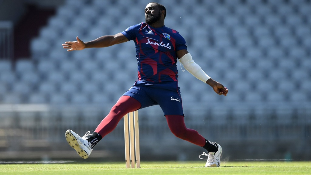 Left-arm seamer Raymon Reifer pressed his West Indies Test claims with five wickets in 11 balls on day two of the intra-squad warm-up game at Emirates Old Trafford on Wednesday, June 24, 2020. (PHOTO: Cricket West Indies).