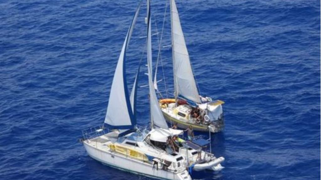 A photo of the boats taken by the Cayman Islands police helicopter