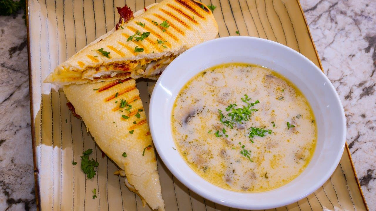 Grilled Chicken Panini Sandwich with Easy Homemade Mushroom Soup