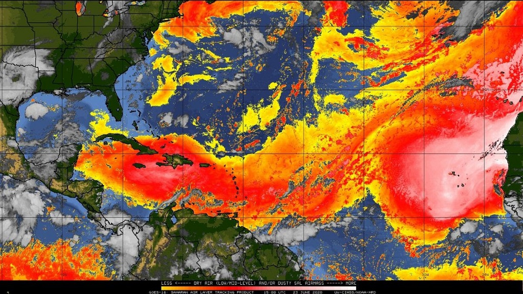10am satellite imagery of the Saharan Air Layer across the Caribbean and Jamaica.