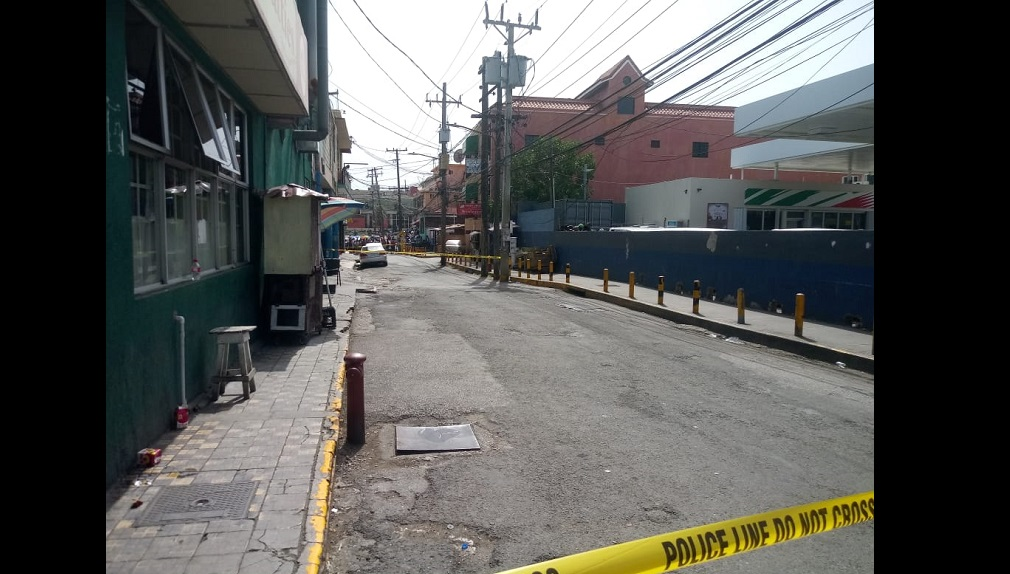 The crime scene along Union Street in Montego Bay on Monday afternoon.