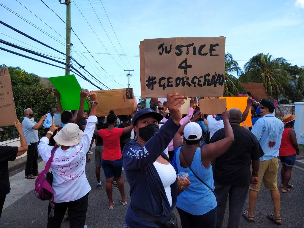 Peaceful protest recently held in Grenada in support of Black Lives Matter movement. 