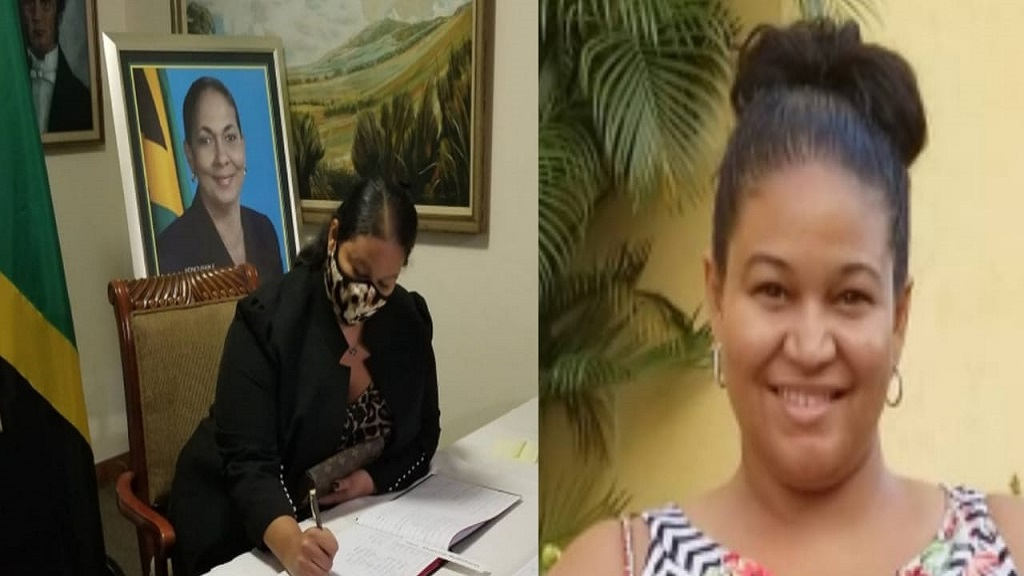 At left, Shahine Robinson's niece, Gianna Fakhourie, signs her late aunt's condolence book. At right, an undated photo of Fakhourie.
