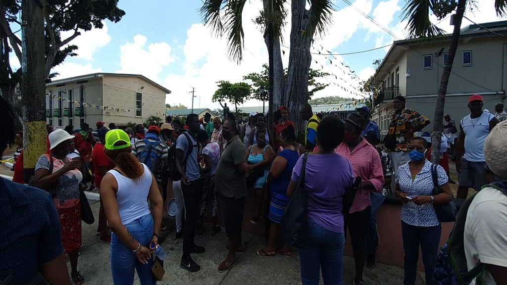Protesters outside St Lucia parliament