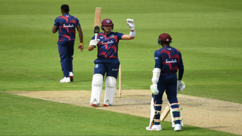 Joshua Da Silva celebrates his century on the third and penultimate day of the West Indies' final intra-squad match on Wednesday, July 1 at Emirates Old Trafford. (PHOTO: Cricket West Indies).
