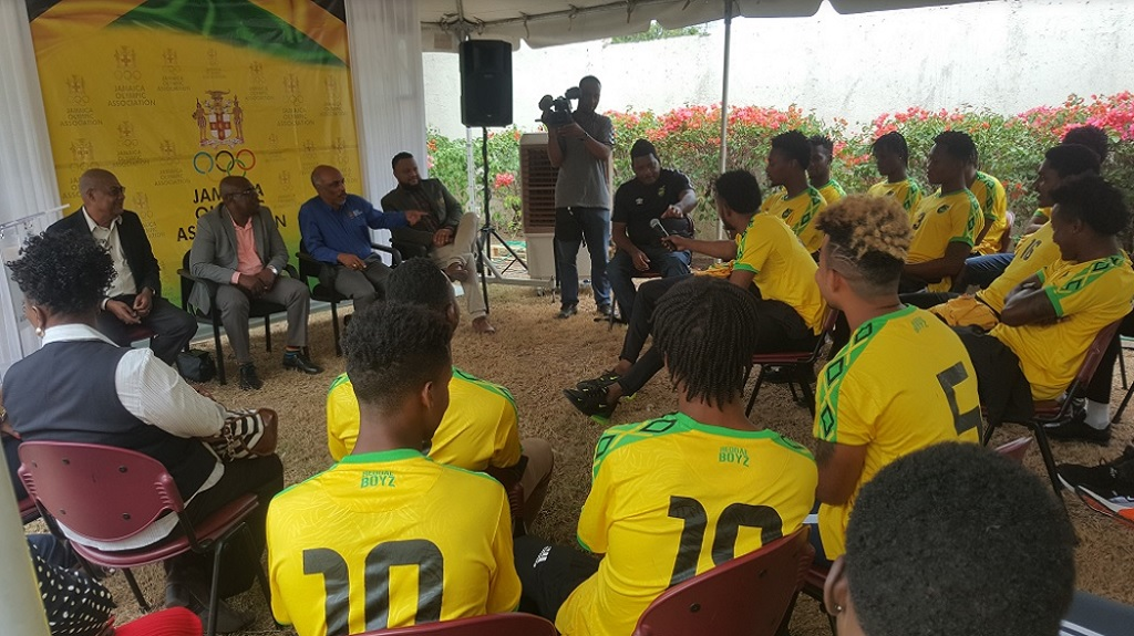 Jamaica's Under 23 football team at a Jamaica Olympic Association's function before heading to the Pan American Games in Lima, Peru in 2019.