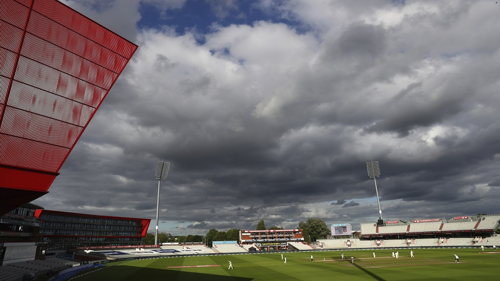 A general view during the last day of the second cricket test match between England and West Indies at Old Trafford in Manchester, England, Monday, July 20, 2020. (Michael Steele/Pool via AP).