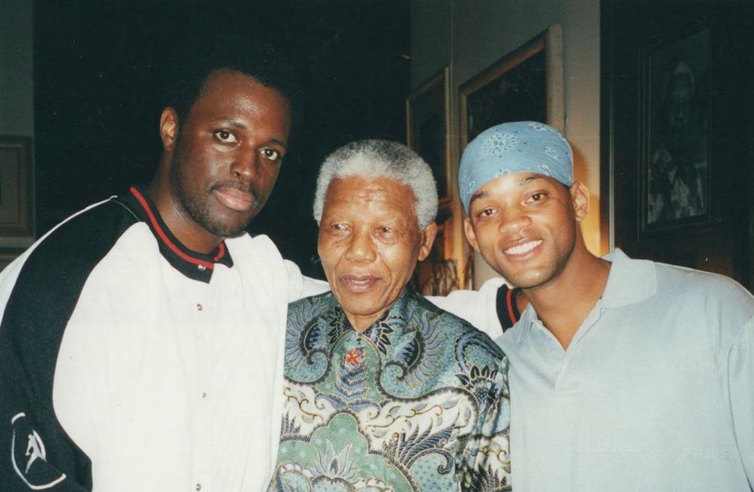 Au milieu, Nelson Mandela et à droite, l'acteur américain Will Smith