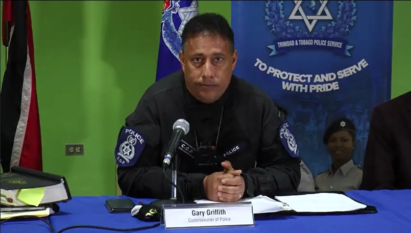 Pictured: Police Commissioner Gary Griffith addresses reporters at a media conference.