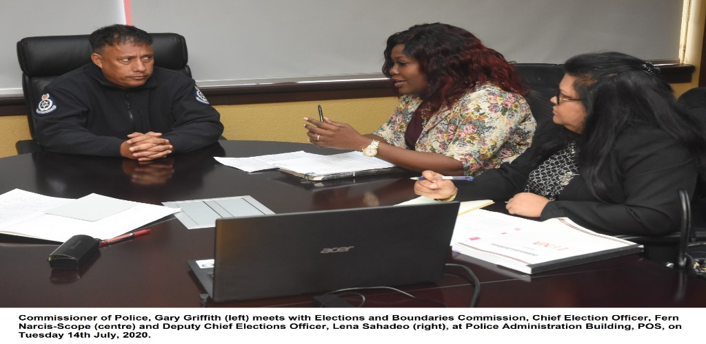 Commissioner of Police Gary Griffith meets with Chief Elections Officer Fern Narcis-Scope on July 14.