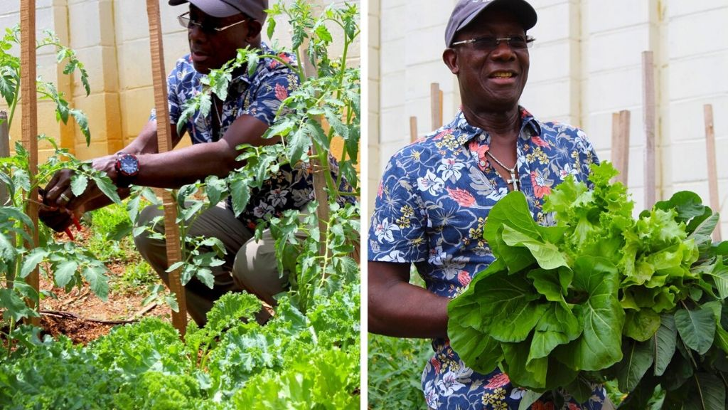 In this file photo, prime minister of  Trinidad & Tobago Dr Keith Rowley shows off his home garden.