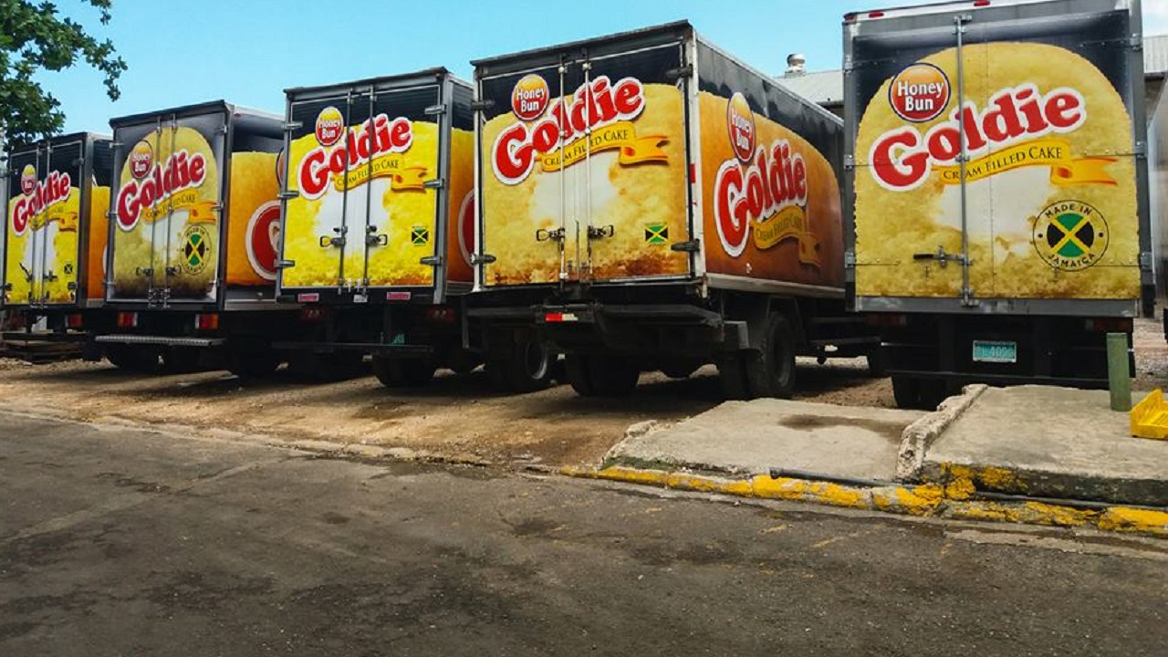 Honey Bun trucks emblazoned with images of the company's Goldie snack.