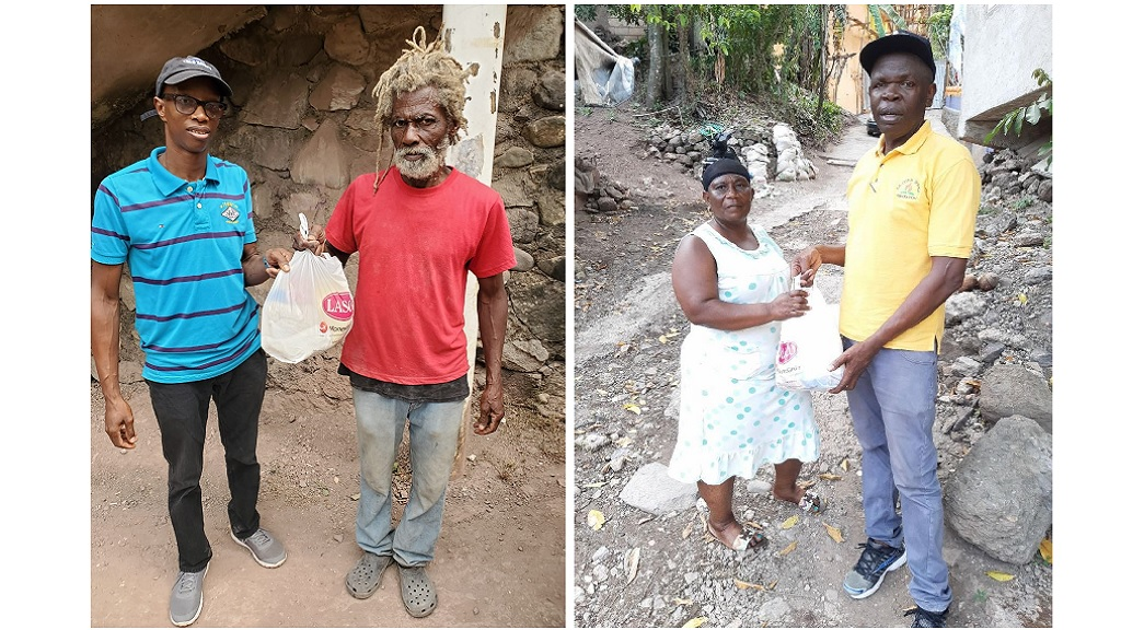 Elder Neville Morrison (left, in left image) and Donovan McNee (right, in right image) of the Gordon Town SDA delivered COVID packages to the community members on Saturday, July 4, 2020.