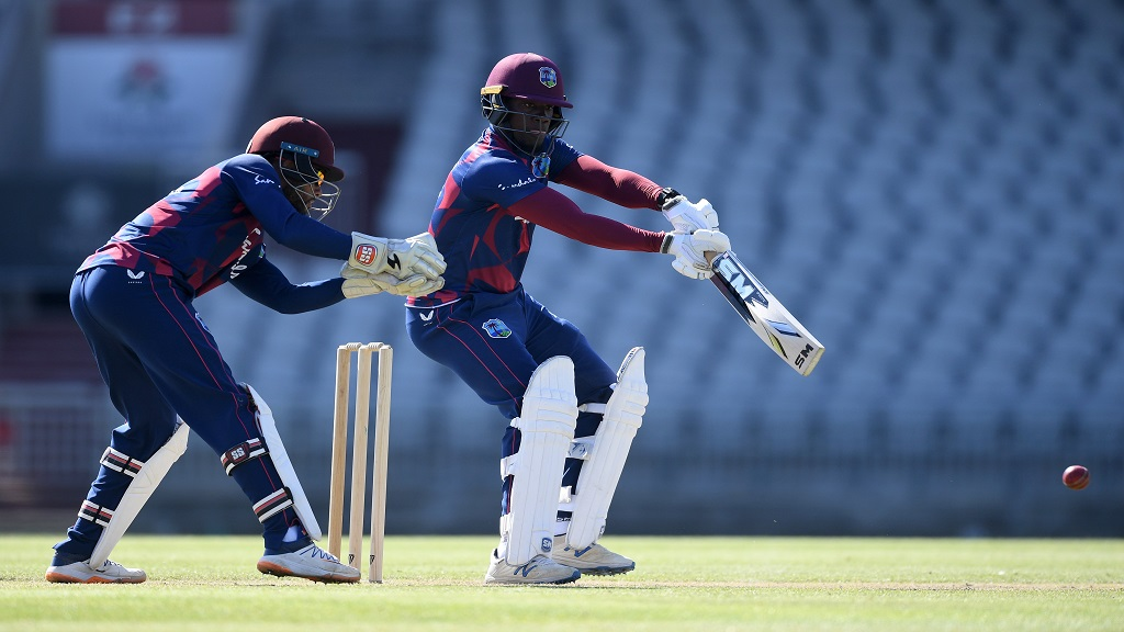 Nkrumah Bonner on the go during his patient 47 on the final day of the West Indies four-day intra-squad match at Emirates Old Trafford on Thursday, July 2, 2020. (PHOTO: Cricket West Indies).