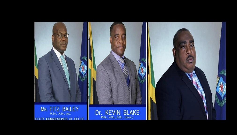 Photo: (From left) Fitz Bailey, who is currently in charge of the Crime Portfolio; Dr Kevin Blake, who is currently assigned to the Public Safety and Traffic Enforcement Branch (PSTEB) and Richard Stewart, who heads the Administration Portfolio
