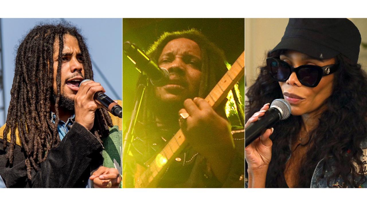 "Skip Marley performs at Coachella Music & Arts Festival in Indio, Calif. on April 13, 2018, from left, Stephen Marley performs during the ""Catch A Fire Tour 2015"" stop in Huntington, N.Y. on Sept. 1, 2015 and Cedella Marley speaks at the Marley Brunch with Marley Family Members in West Hollywood, Calif. on Jan. 24, 2020. The family of reggae legend Bob Marley are covering his song ""One Love"" to raise money for coronavirus relief efforts. (AP Photo)"