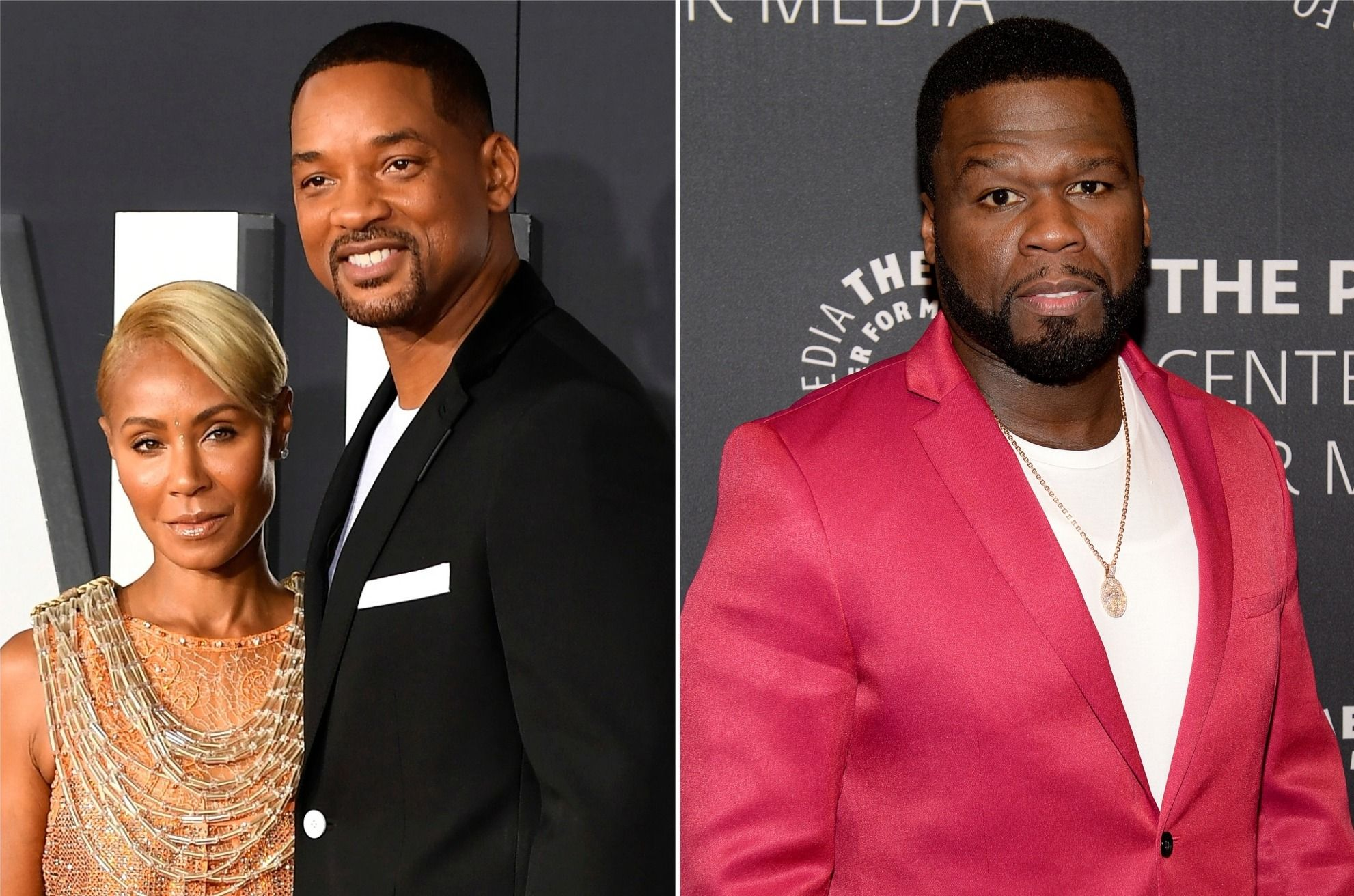 Jada Pinkett Smith and husband Will Smith (left) and 50 Cent (right)