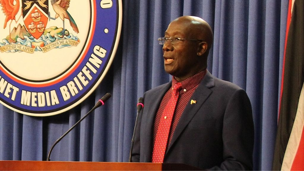 Pictured: Prime Minister Dr Keith Rowley speaks at a conference at the Diplomatic Centre in St Ann's. Photo via Facebook, the Office of the Prime Minister.