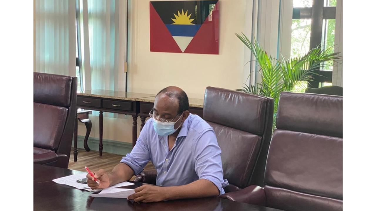 Prime Minister Gaston Browne as he prepared to meet with LIAT stakeholders on Monday.