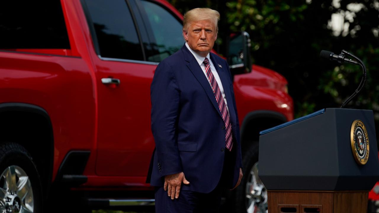 President Donald Trump pauses as he speaks during an event on regulatory reform on the South Lawn of the White House, Thursday, July 16, 2020, in Washington. (AP Photo/Evan Vucci)