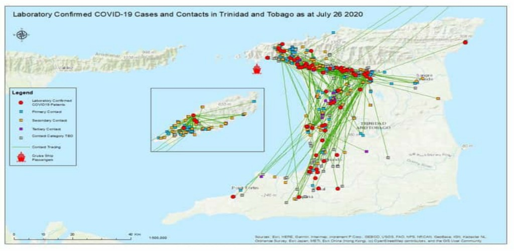 Lab-confirmed COVID-19 cases and contacts in Trinidad and Tobago as of July 26, 2020 (Source: Ministry of Health)