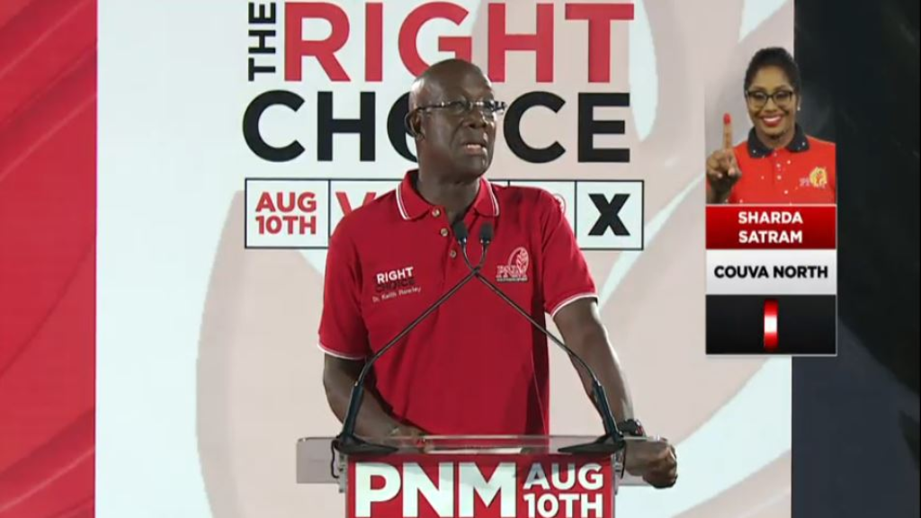 Pictured: Prime Minister Dr Keith Rowley reveals that Trinidad and Tobago has recorded four additional cases of COVID-19. He made the revelation while speaking at a political meeting on July 27, 2020.
