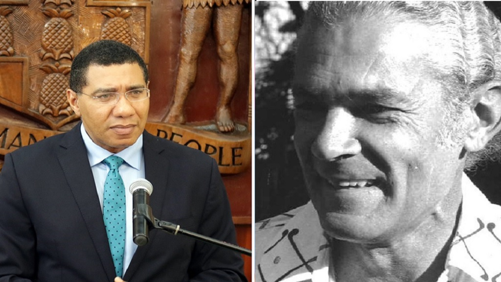 Jamaica's current prime minister, Andrew Holness (left), and former PM, Michael Manley.