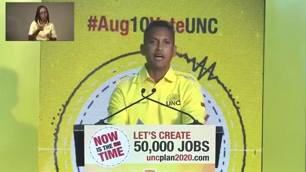 Pictured: UNC candidate for St Joseph, Ahloy Hunt, unveils the UNC's eight-point crime-fighting plan.