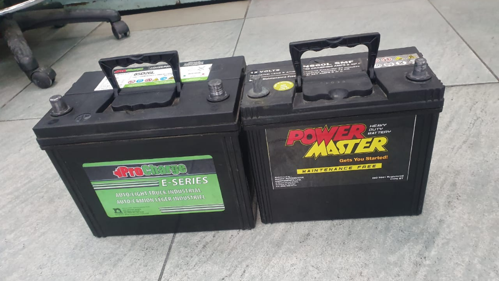 Pictured: Police recovered two car batteries from the suspect's River Estate home.