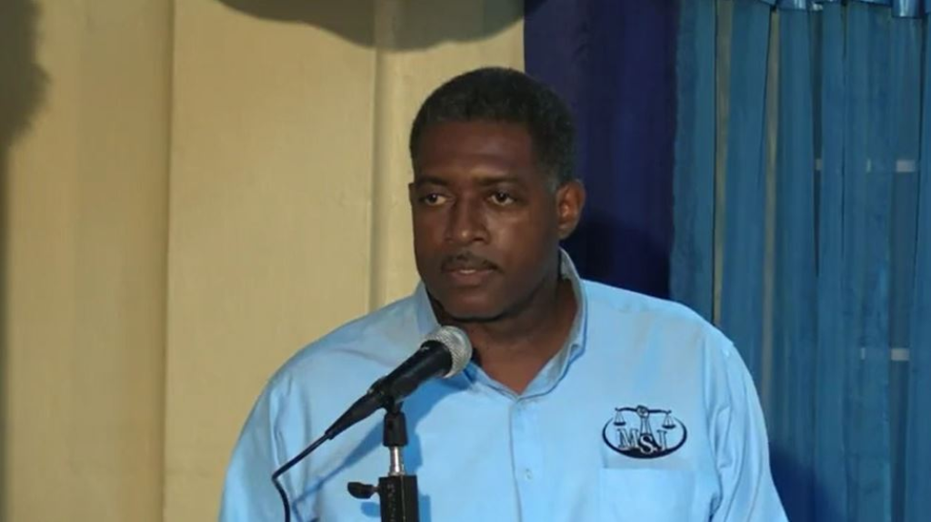 Pictured: MSJ candidate for La Brea Marlon Greaves speaks at a virtual political meeting on July 28, 2020.