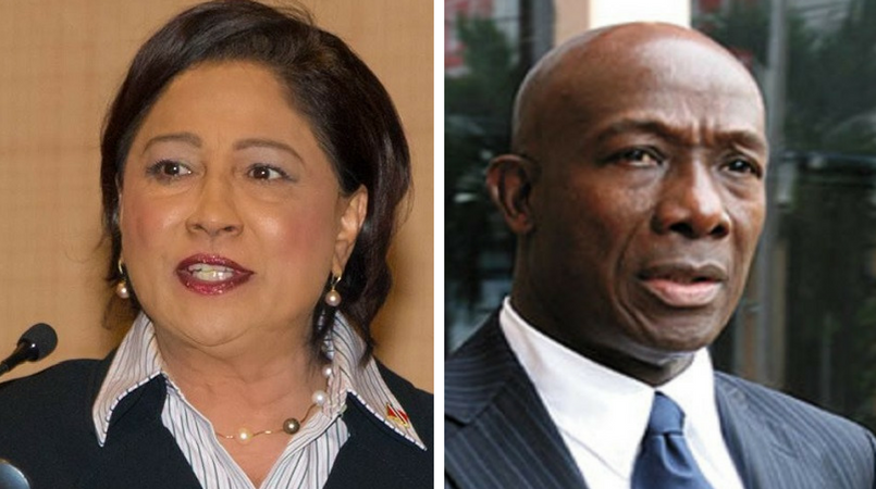 L-R: Opposition Leader Kamla Persad-Bissessar and Prime Minister Dr Keith Rowley