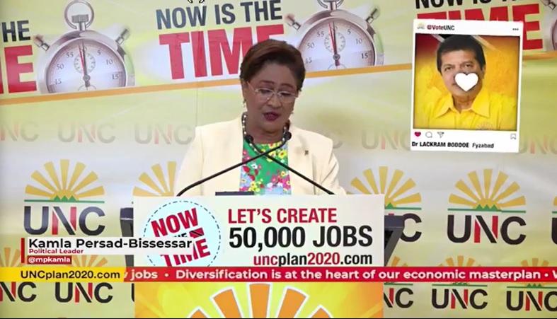 Political Leader of the UNC, Kamla Persad-Bissessar