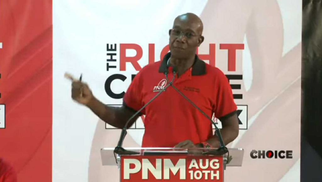 Pictured: Prime Minister Dr Keith Rowley speaks at a virtual political meeting in Barataria/San Juan on July 22, 2020.