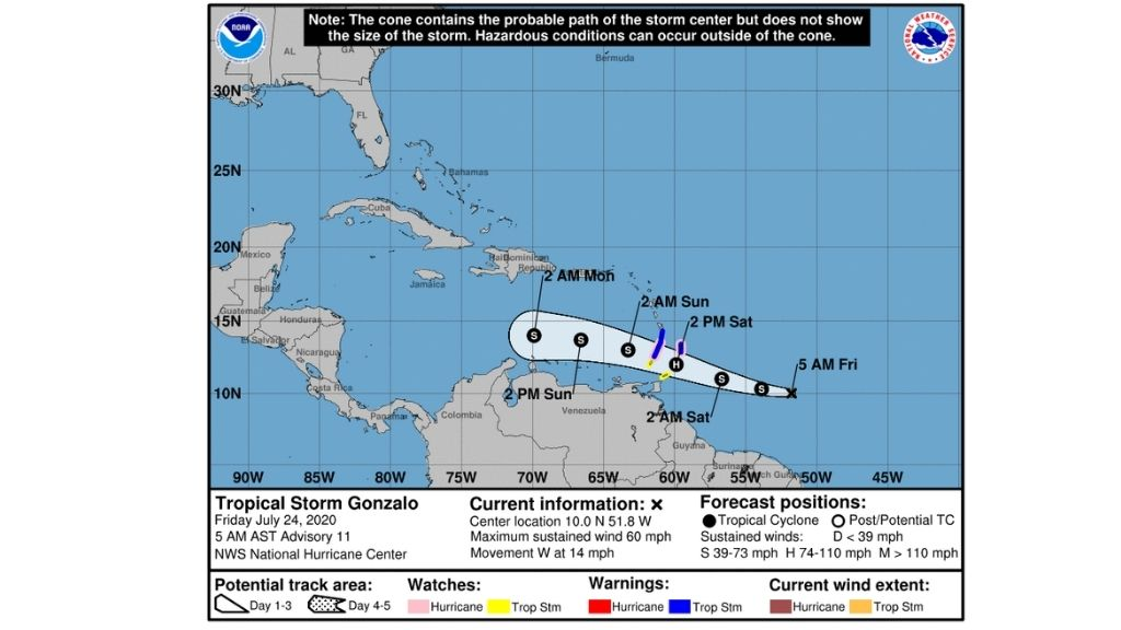 Tropical storm warning and hurricane watch in effect
