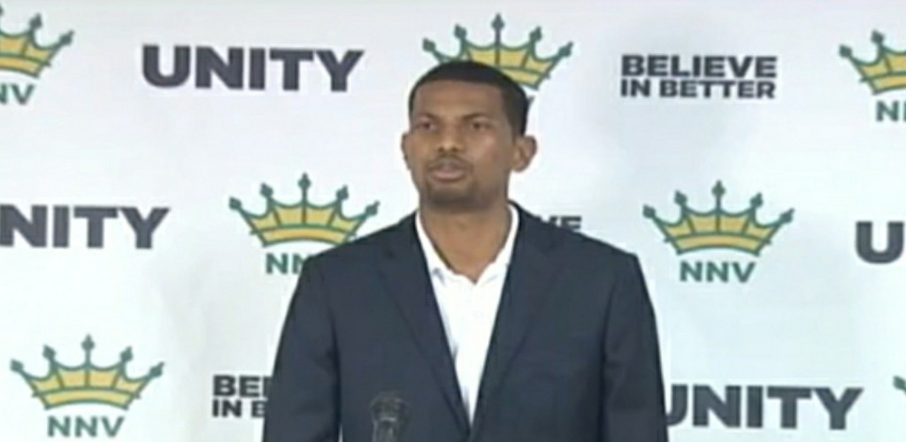 New National Vision (NNV) political leader, Fuad Abu Bakr speaks at a media conference on June 6, 2020.