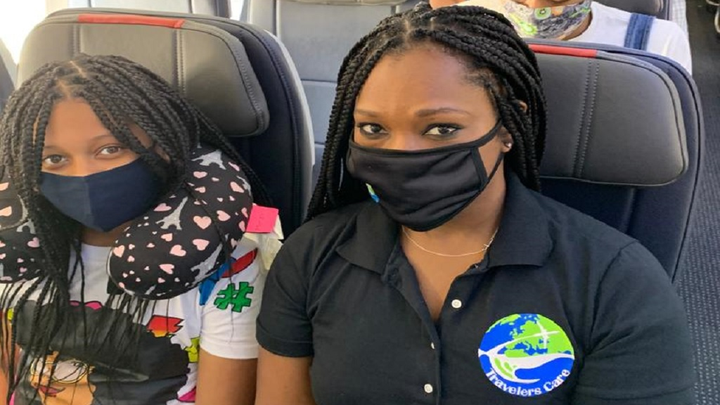 Shelly-Ann Cawley of Travelers Care and 11-year-old Amyah Cawley headed for Dallas, Texas.