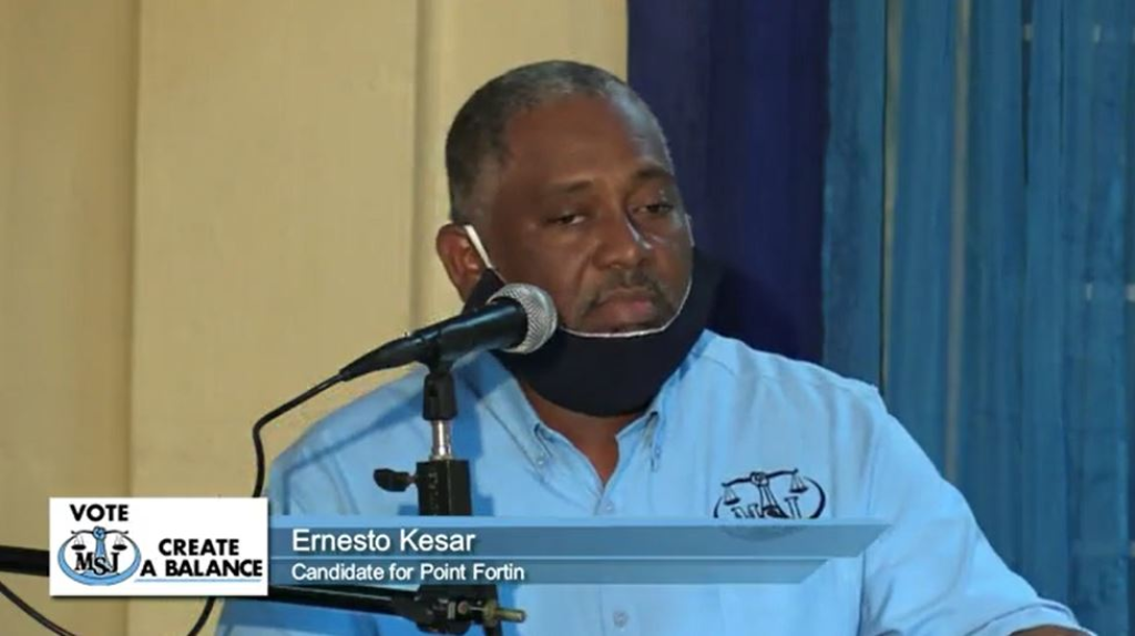 Pictured: MSJ candidate for Point Fortin Ernesto Kesar speaks at a political meeting on July 28, 2020.