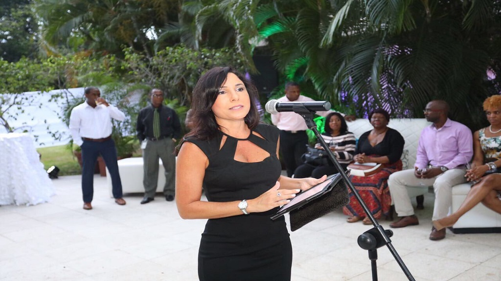 Tara Nunes addressing a Sagicor Investments event in 2017. (Photo via Sagicor Investments, Twitter)
