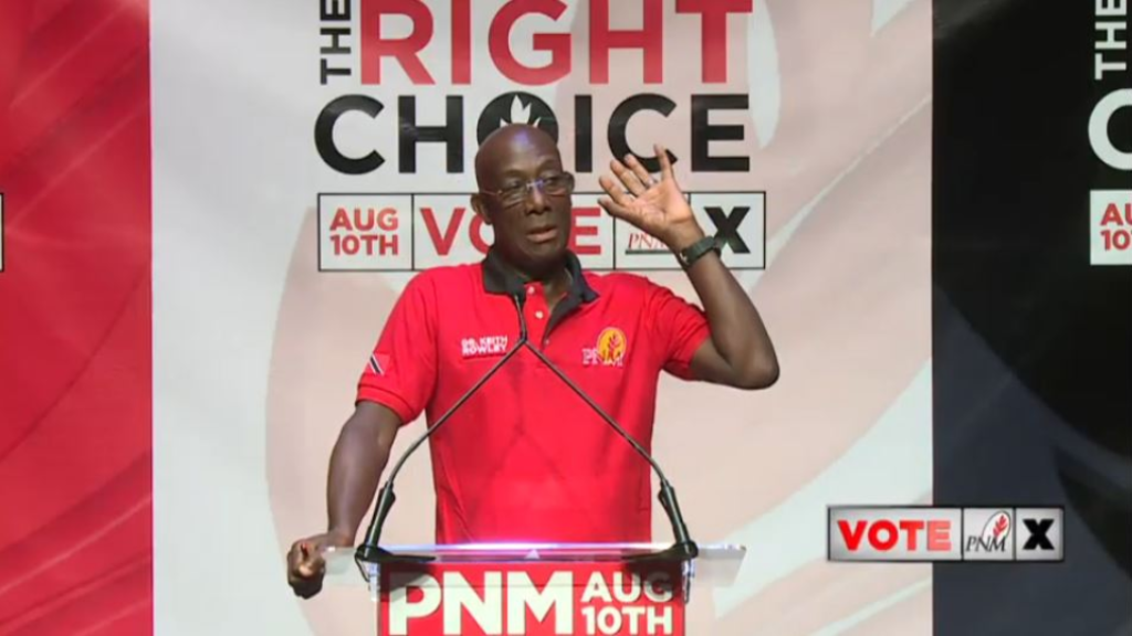 Pictured: Prime Minister Dr Keith Rowley speaks at a political meeting in St James on July 29, 2020.