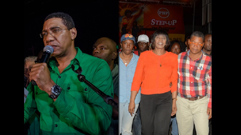 Combination of photos showing, at left, JLP Leader Andrew Holness delivering his victory speech in the 2016 general election at the JLP's Belmont Road headquarters in St Andrew on February 25. At right,  Prime Minister Portia Simpson Miller (centre) arrives at the PNP's Old Hope Road headquarters in St Andrew to address supporters. (Photos: JIS)