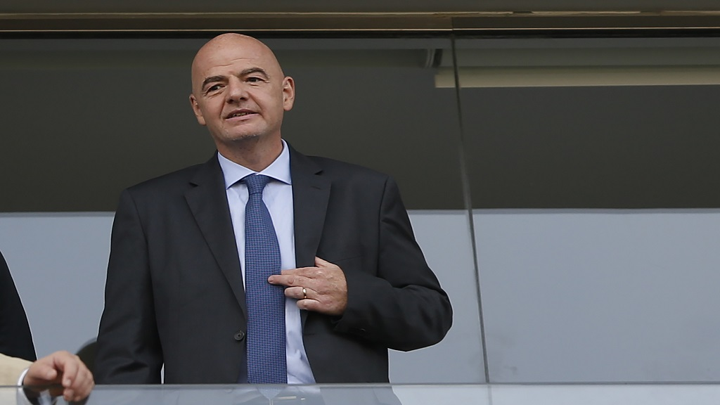 FIFA President Gianni Infantino watches a Copa America Group A football match between Brazil and Peru at the Arena Corinthians in Sao Paulo, Brazil, Saturday, June 22, 2019.