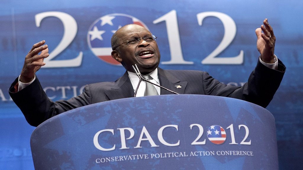 In this February 9, 2012 file photo, former presidential candidate Herman Cain addresses the Conservative Political Action Conference in Washington. Cain has died after battling the coronavirus. A post on Cain's Twitter account on Thursday, July 30, 2020 announced the death. (AP Photo/J. Scott Applewhite, File)