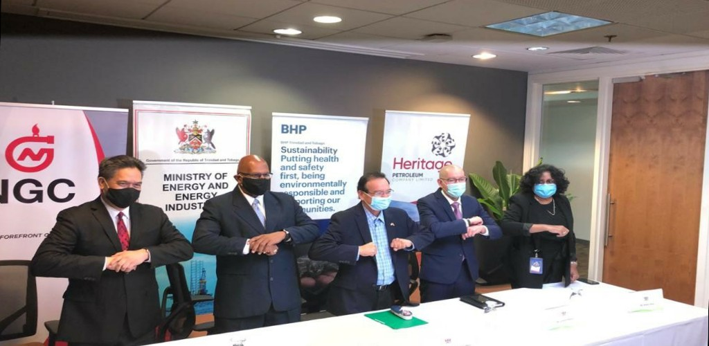 From left to right: Mark Loquan, NGC President; Mr Conrad Enill, NGC Chairman; Energy Minister Franklin Khan; Vincent Pereira, BHP Trinidad and Tobago President; Ms. Arlene Chow, Heritage Petroleum CEO