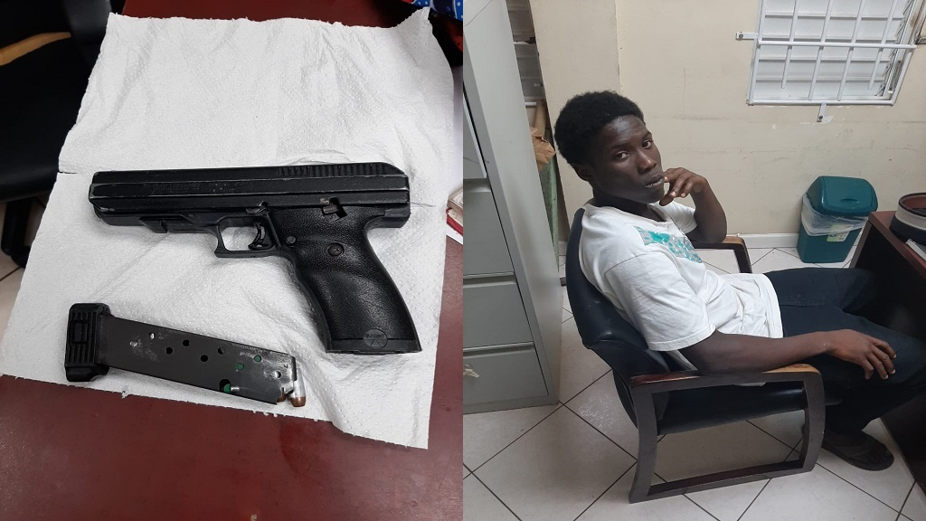 Garvin Jn Baptiste was arrested and charged with possession of a firearm and ammunition without valid license.