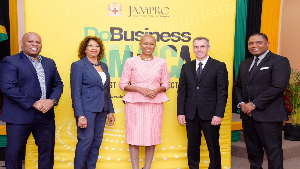 (L-R) Norman Naar, Vice President, Jampro, Diane Edwards, President of Jampro,  Fayval Williams, Minister of Science, Energy, and Technology (MSET), and JPS CEO Michel Gantois and Don Gittens, Manager of Logistics, Energy and Infrastructure at JAMPRO, smile for a photo after the conclusion of a webinar promoting Jamaica for energy investments.