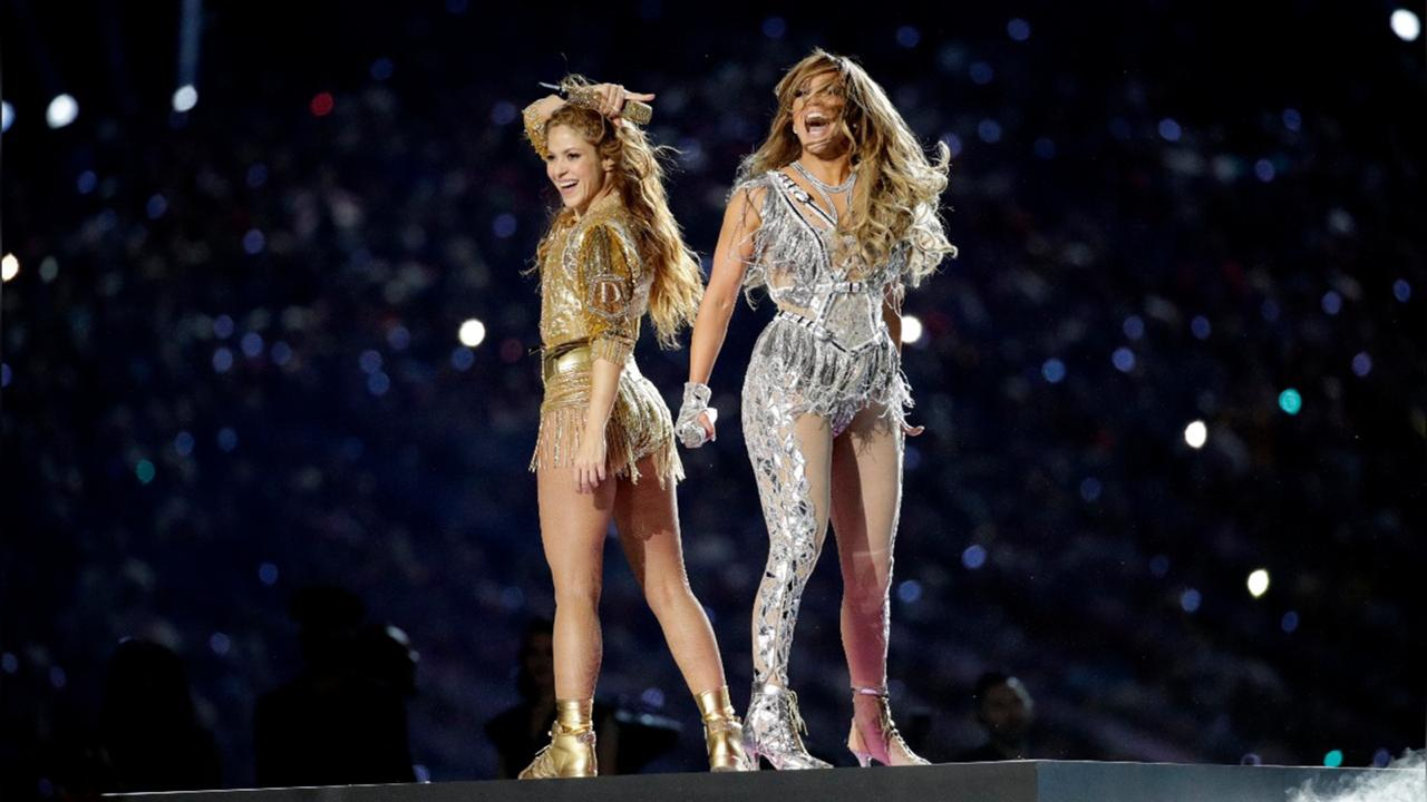 Shakira, left, and Jennifer Lopez perform during halftime of the NFL Super Bowl 54 football game between the Kansas City Chiefs and the San Francisco 49ers in Miami Gardens, Fla. on Feb. 2, 2020. Lopez and Shakira's show-stopping Super Bowl halftime performance is nominated for four Emmy Awards. (AP Photo/Patrick Semansky, File)